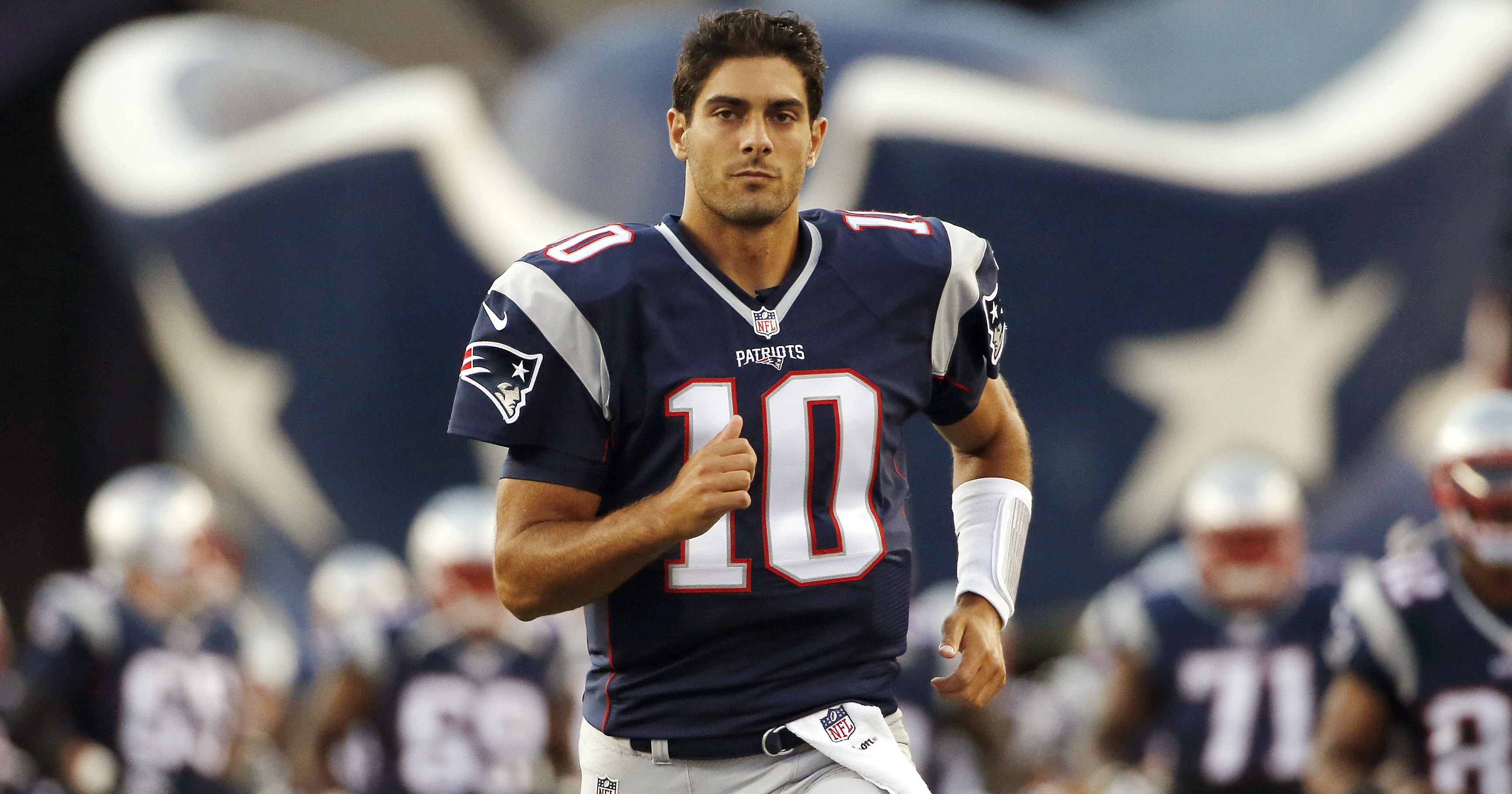 Jimmy Garoppolo I Got Serious Game On and Off the Field Jimmy Garoppolo used his magnetic force Saturday night to connect with a hot blonde and no