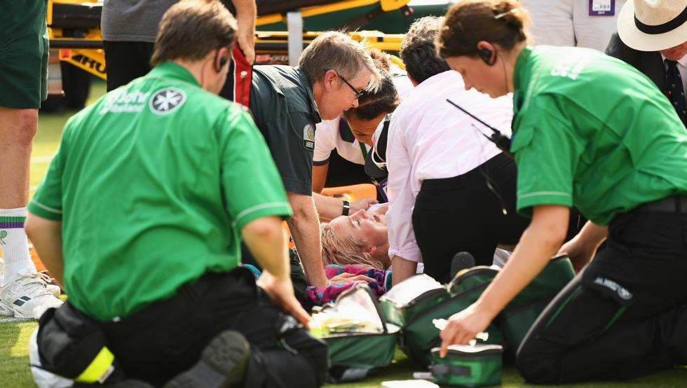 lesión, campeonato, wimbledon 2017, Bethanie Mattek-Sands, Sorana Cirstea, rodilla, traumatismo, tenis