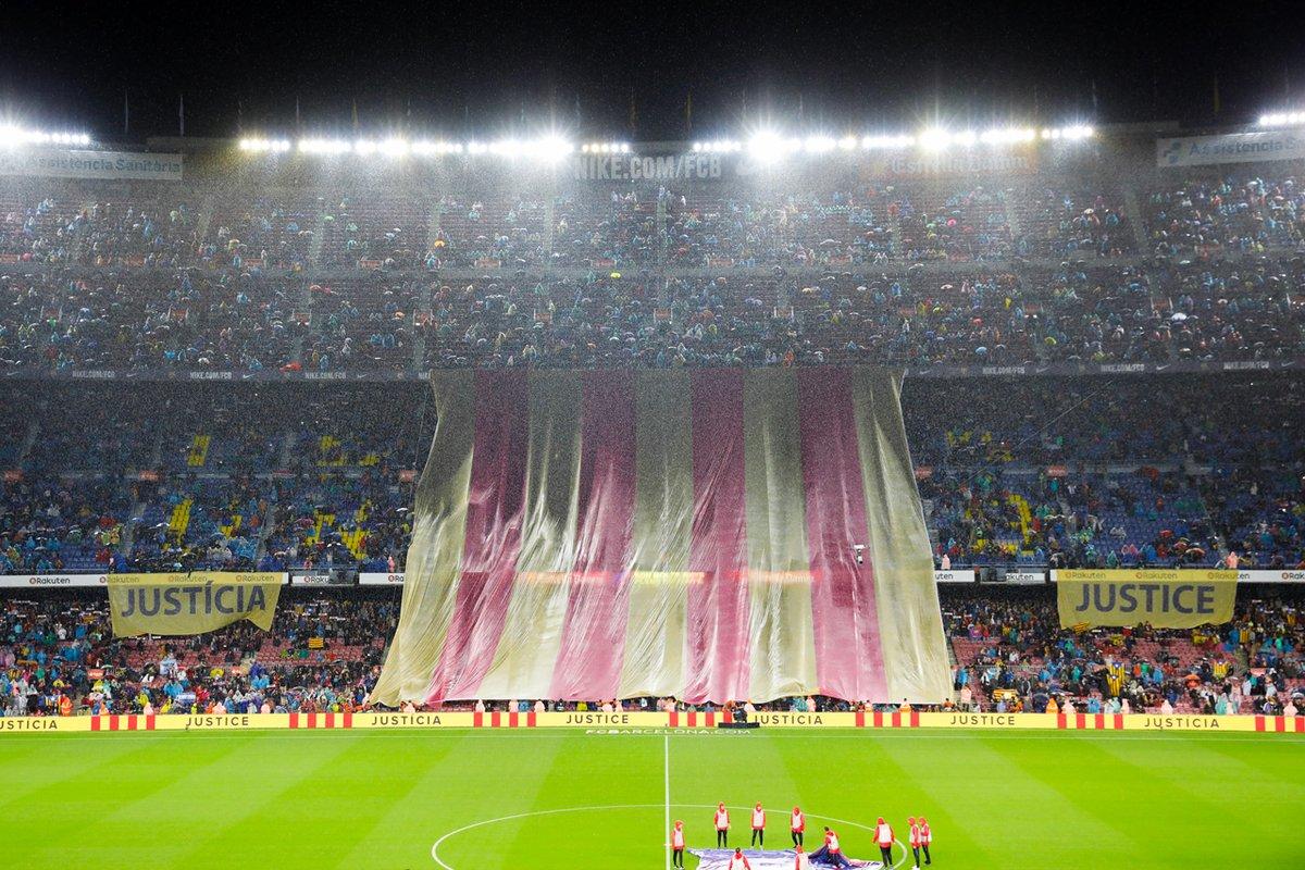 Barcelona, aficionados, exige, libertad, presos políticos, exconsellers del Govern, Assemblea Nacional Catalana