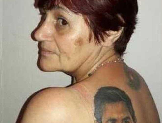 Mujer, 54 años, se tatúa, Messi, Lionel Messi, espalda, Nora Franchini, Argentina, final, Mundial, Brasil 2014