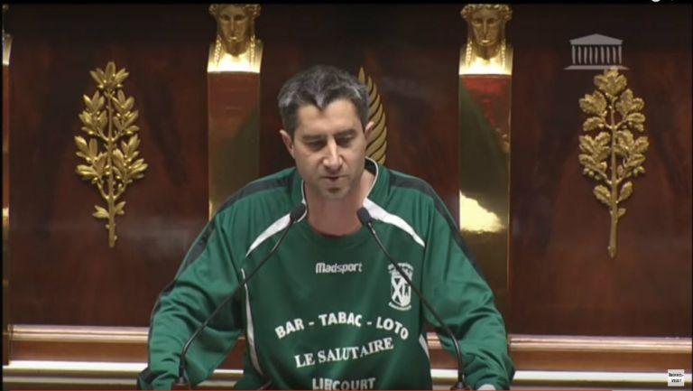 Diputado, multado, por portar, playera de futbol, Francia, mil 378 euros, Francois Ruffin, presidente de asamblea, Francois de Ruggy, subió al estrado, Olympique Eaucourt