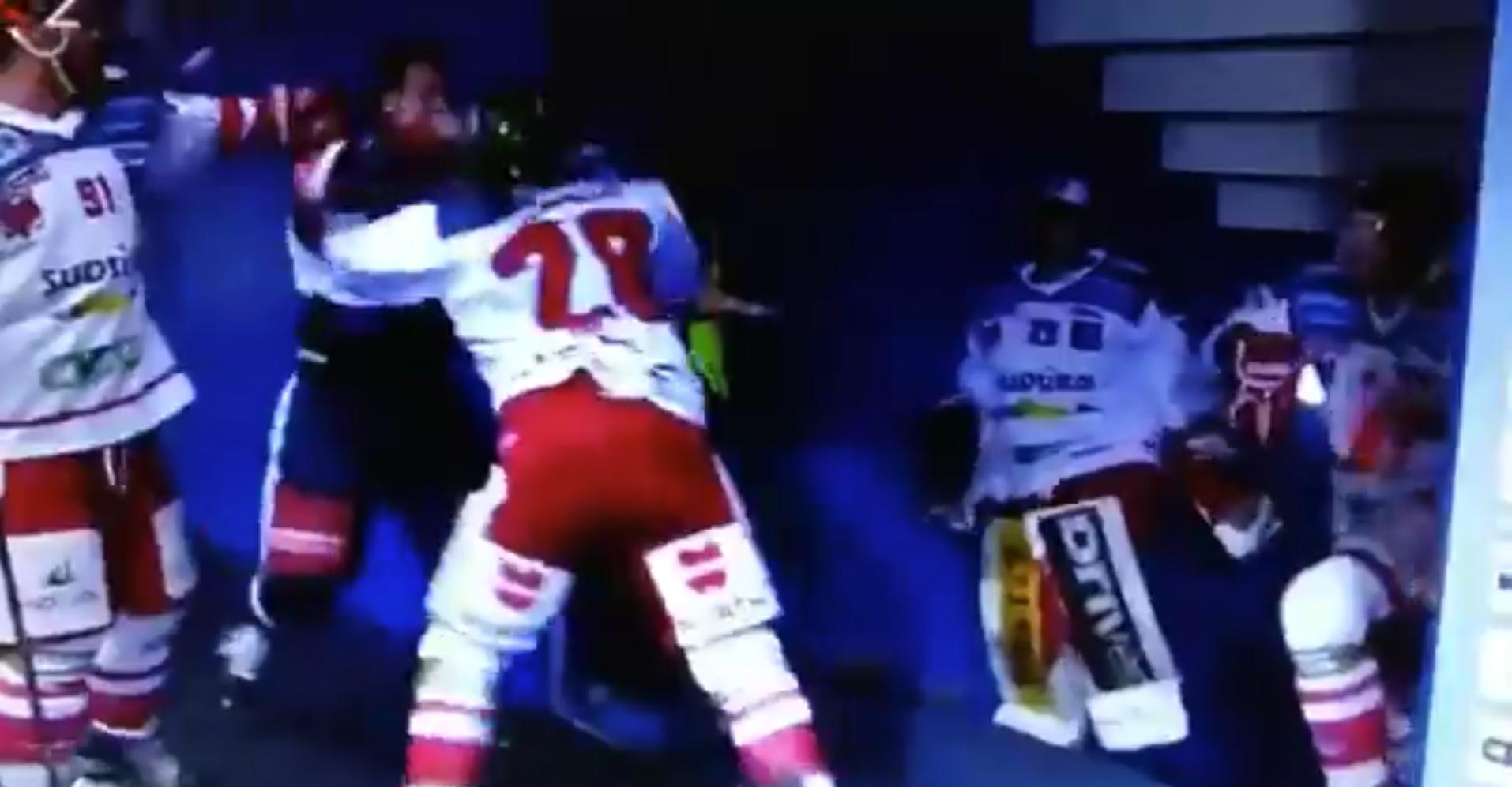 Golpes Hockey NHL Video Medvescak Zagrev Tom Zanoski