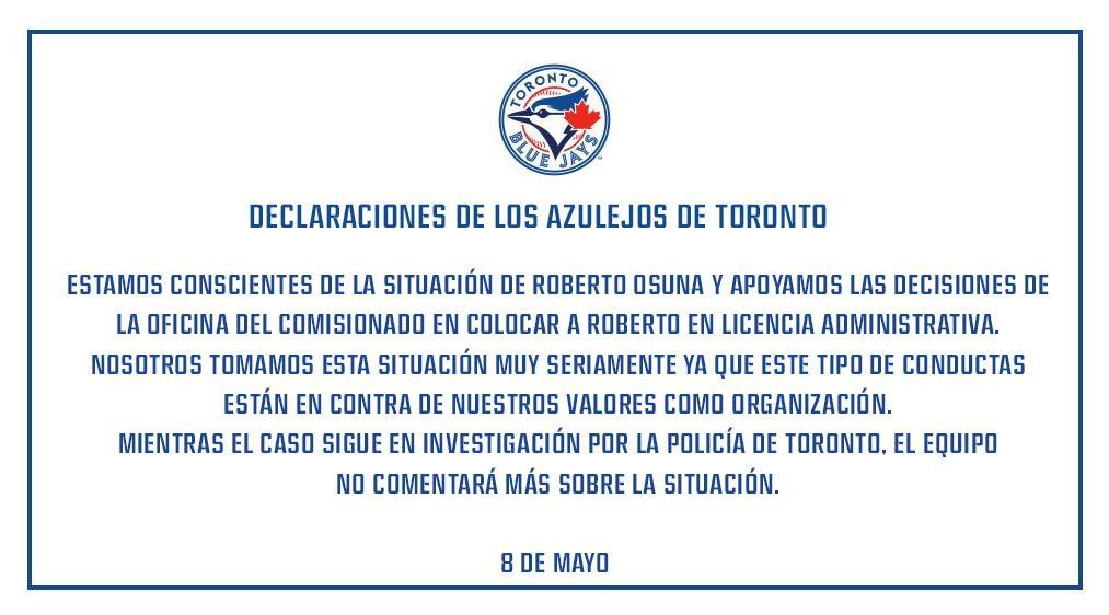 Roberto Osuna Arrestado Toronto Violencia Doméstica