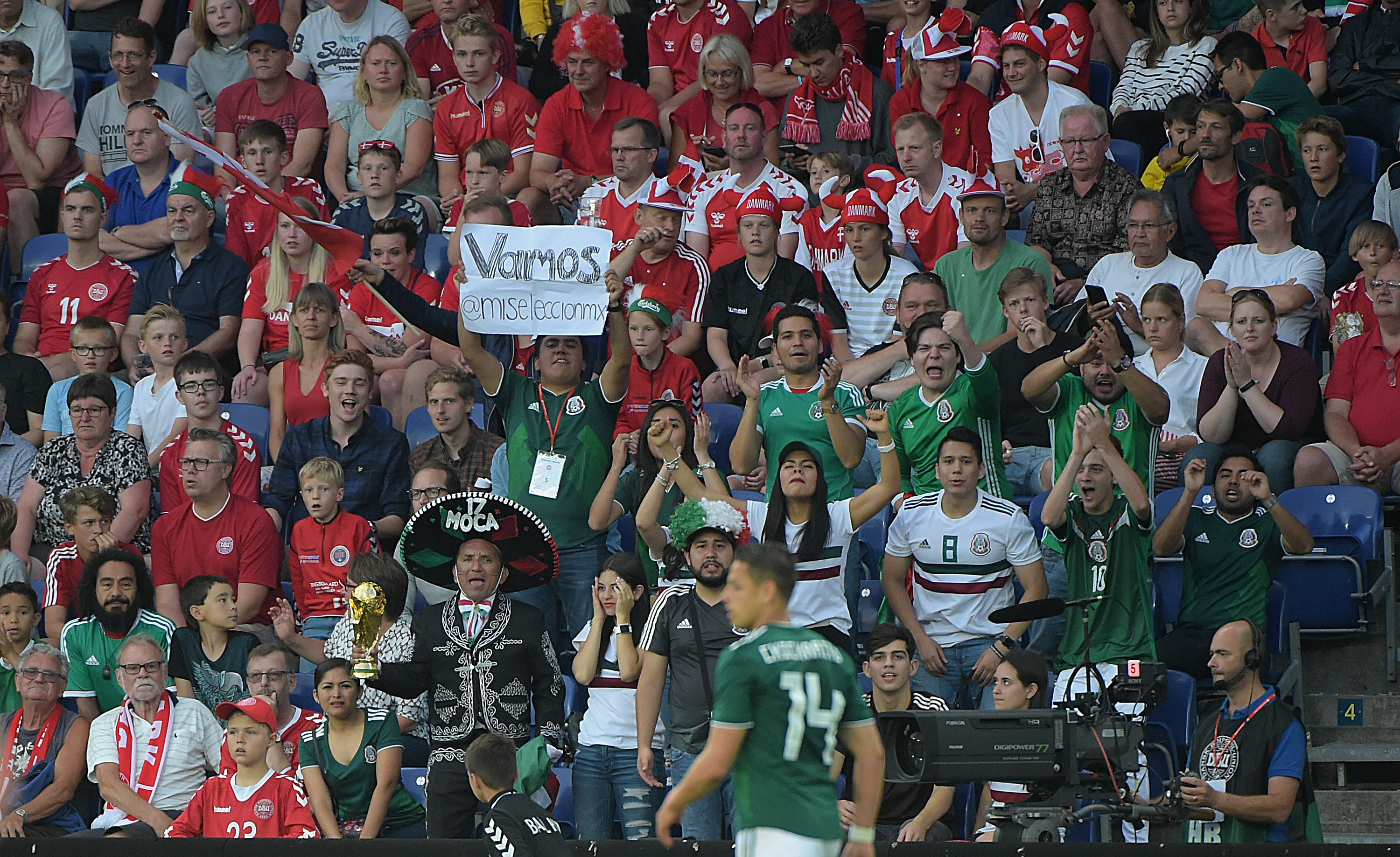 BRONDBY, DENMARK - JUNE 09: Supporters of Mexico cheer for their team during International Friendly match between Denmark v Mexico at Brondby Stadion on June 9, 2018 in Brondby, Denmark.