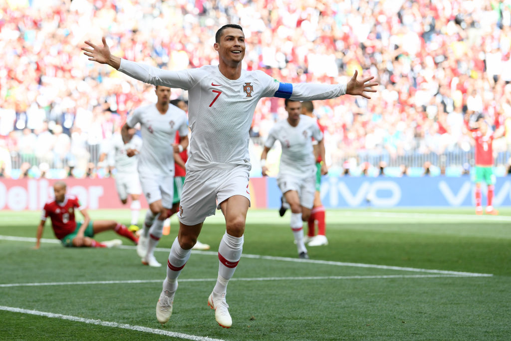 MOSCOW, RUSSIA - JUNE 20: Cristiano Ronaldo of Portugal celebrates after scoring his team's first goal during the 2018 FIFA World Cup Russia group B match between Portugal and Morocco at Luzhniki Stadium on June 20, 2018 in Moscow, Russia.