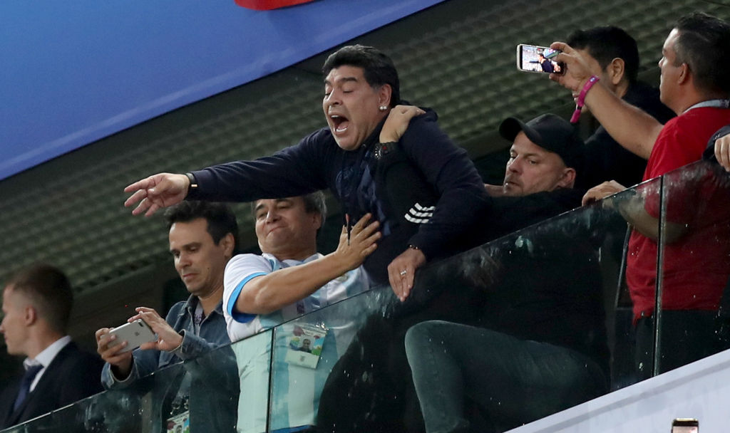 SAINT PETERSBURG, RUSSIA - JUNE 26: Diego Armando Maradona celebrates Argentina's victory following the 2018 FIFA World Cup Russia group D match between Nigeria and Argentina at Saint Petersburg Stadium on June 26, 2018 in Saint Petersburg, Russia.