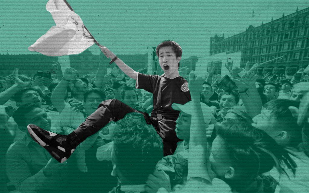Asiático Festejo Zócalo México Mundial