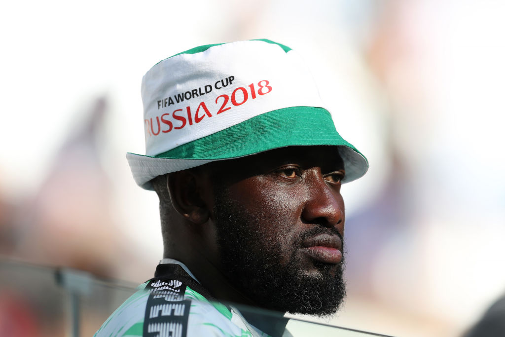 VOLGOGRAD, RUSSIA - JUNE 22: A Nigeria fan enjoys the pre match atmosphere prior to the 2018 FIFA World Cup Russia group D match between Nigeria and Iceland at Volgograd Arena on June 22, 2018 in Volgograd, Russia. (