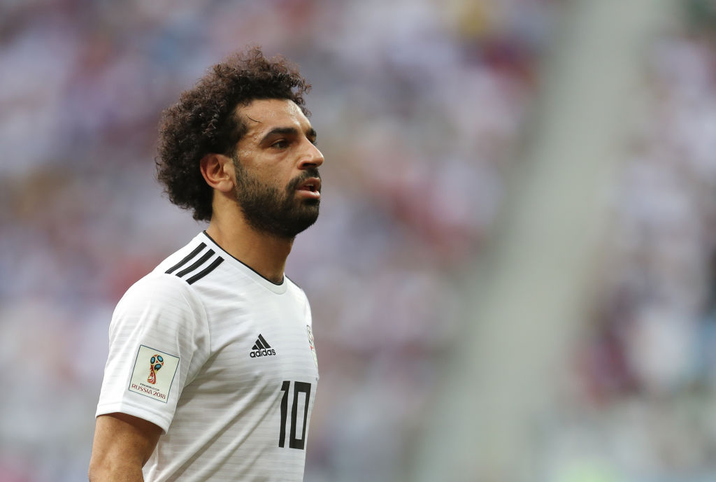 VOLGOGRAD, RUSSIA - JUNE 25: Mohamed Salah of Egypt during the 2018 FIFA World Cup Russia group A match between Saudia Arabia and Egypt at Volgograd Arena on June 25, 2018 in Volgograd, Russia.