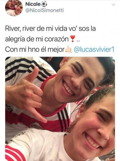 Nicole Simonetti, Boca, River, Amenazas, Libertadores